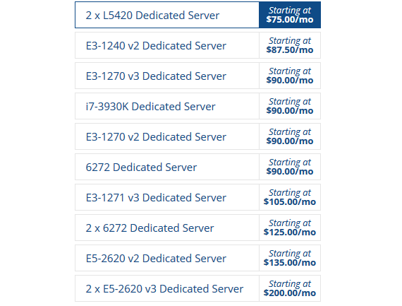 Hostwinds Dedicated Hosting Pricing