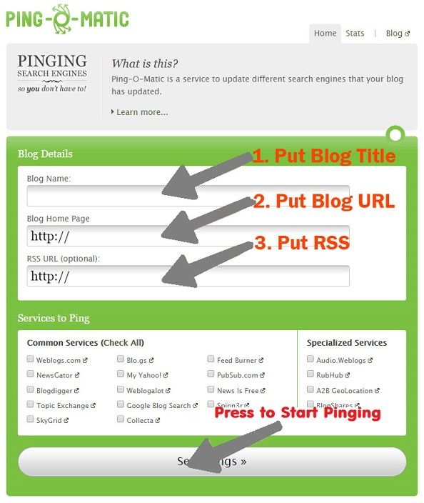 Ping O Matic - best ping services for blog
