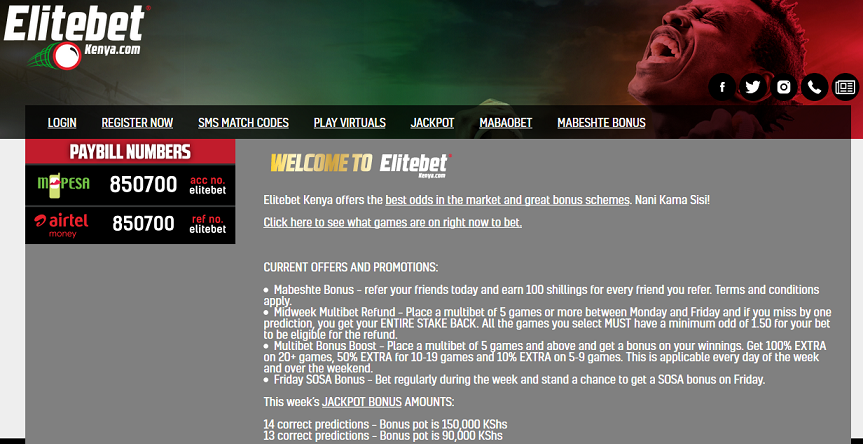 Elitebet Kenya website