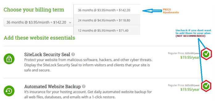 adjusting website hosting plan prices