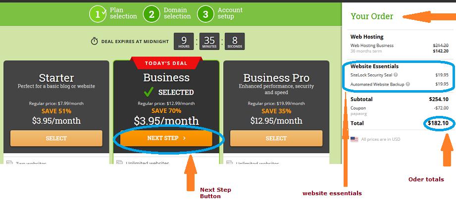 step 2: selecting hosting plan