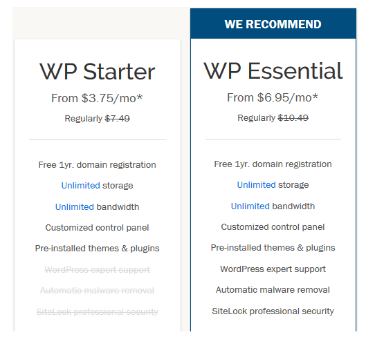 iPage WordPress Hosting Pricing