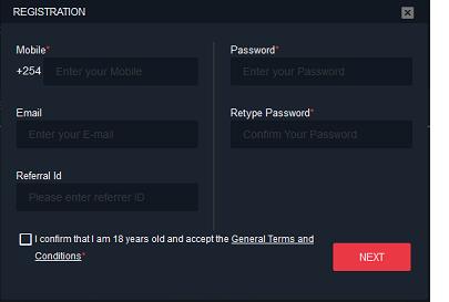 Jambo Bet Instant Registration