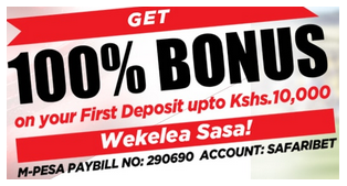 Safaribet Kenya first deposit bonus