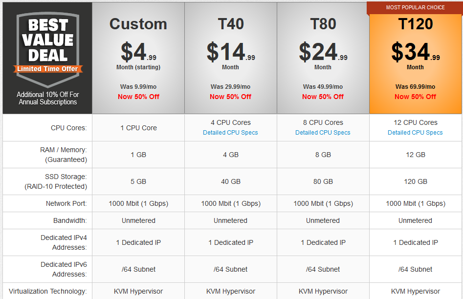 TurnKey Internet VPS Hosting Pricing