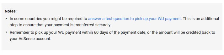 Google adsense wu money pickup security question